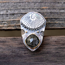 Load image into Gallery viewer, Close up of quartz inclusion evil eye shield ring with high carat gold and silver granulation