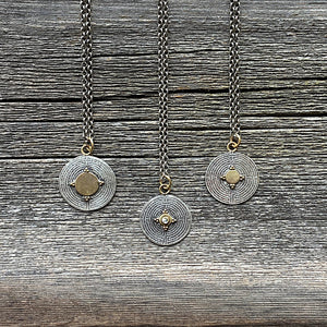 Diamond and 18k gold labyrinth charm necklace
