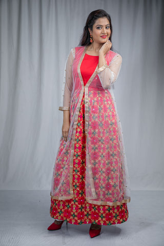 Indo-western phulkari dress