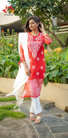 chikankari red kurta with white pants and dupatta