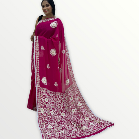 Georgette hand-embroidered fusion saree