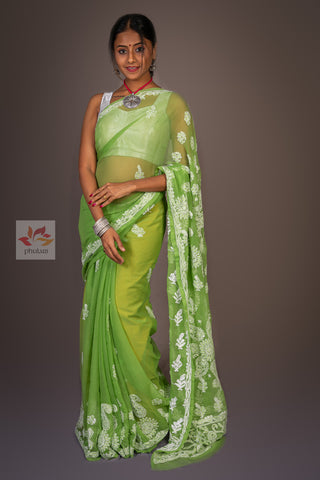 Light Georgette Chikankari Saree