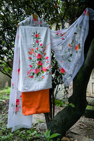 Glace cotton hand-painted salwar suit fabric