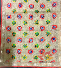 Load image into Gallery viewer, Designer Chanderi multicolour hand embroidered phulkari dupatta with fine Ari  - Beige