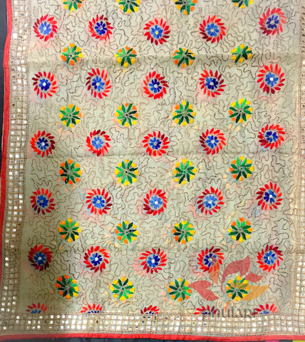 Designer Chanderi multicolour hand embroidered phulkari dupatta with fine Ari  - Beige