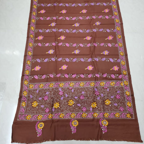 Kantha embroidered woollen shawl