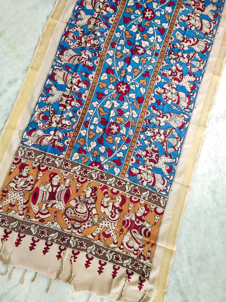 Mangalgiri Cotton Hand-painted Pen Kalamkari Dupatta - Blue and Off White