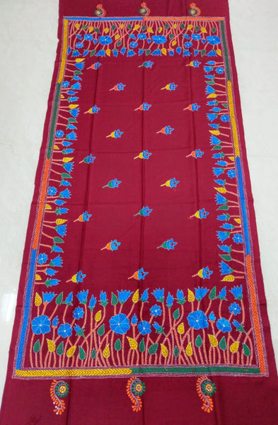 Kantha embroidered woollen shawl - Red