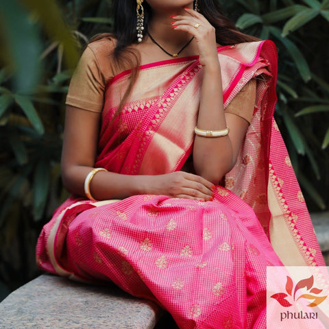 Banarasi Cotton Silk Saree Small Check - BA004 - Pink - Phulari