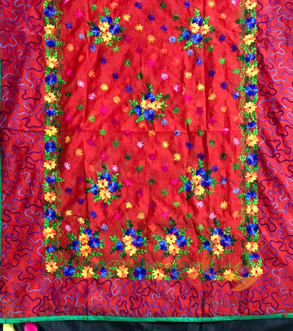 Designer Chanderi hand embroidered phulkari dupatta Ari border - Red