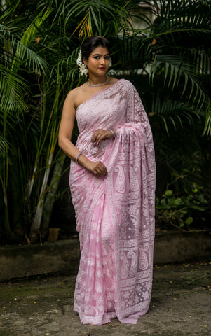Georgette Chikankari Saree Full Jaal Work - Baby Pink