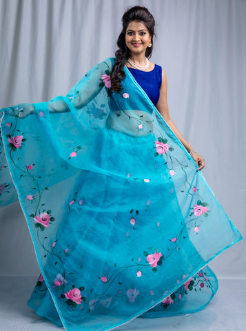 Hand-painted organza lehenga - Firozi Blue (custom colors available)