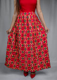 Indo-western phulkari dress (Gown) - Red