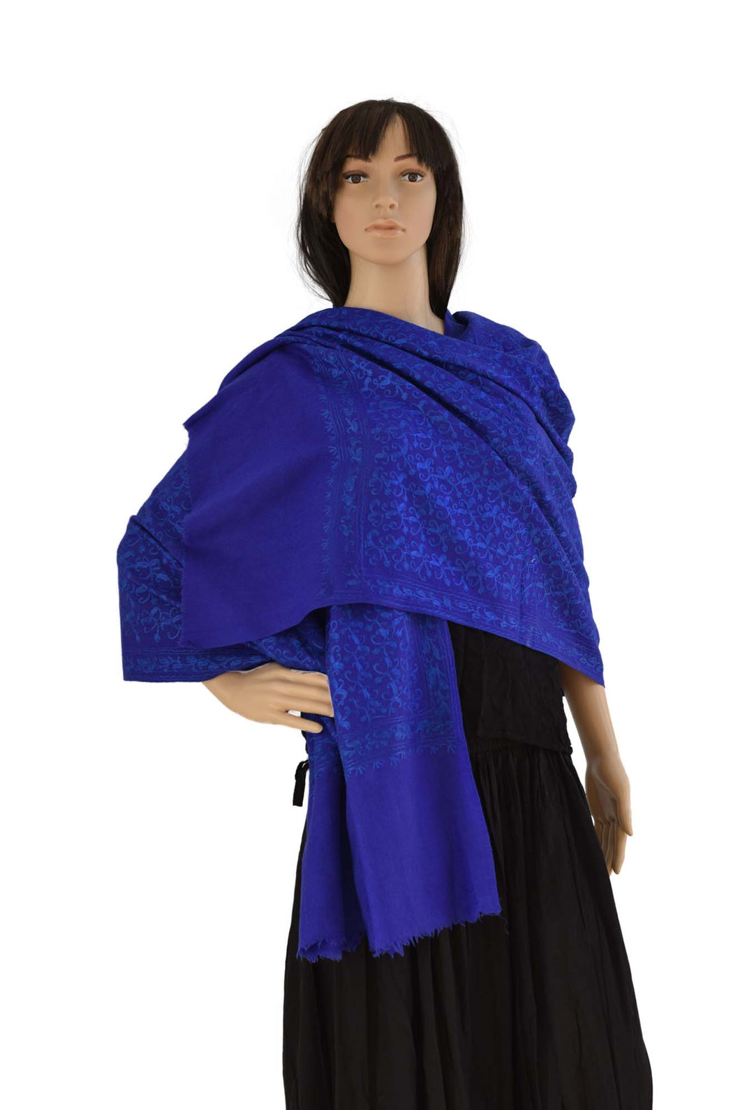 Pure Pashmina Self Embroidered Stole (KE02) - Royal Blue - Phulari