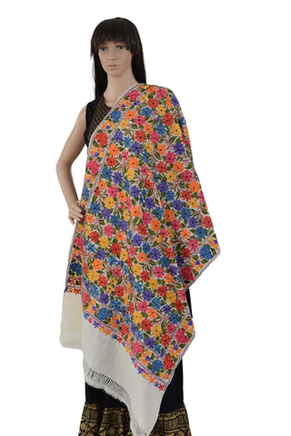 Ari Embroidered Jama Wool Stole (AE02) - Phulari