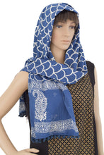 Load image into Gallery viewer, Hand Block Printed Cotton Stole - Indigo Scales (HI02) - Phulari