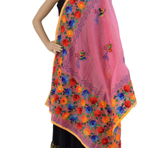 Chanderi Hand Embroidered Dupatta - Sparrow (PE07) - Pink - Phulari