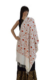 Kashmiri Floral Embroidered Cashmilon Stole (KE04) - Off White - Phulari
