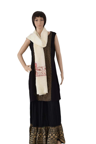 Hand Embroidered Palla Wool Stole (KE01) - Phulari