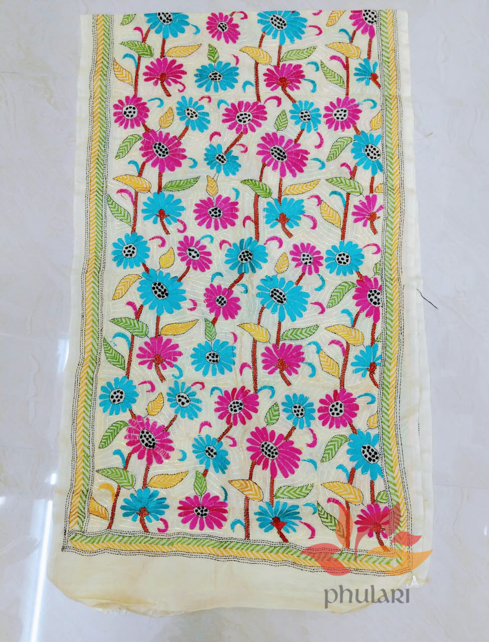 Handcrafted Kantha embroidery Pure Tussar Stole - Blue and Pink design