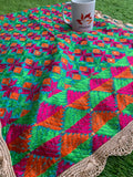 Cotton Hand Embroidered Phulkari Bagh Stole - Multicolor (teal)