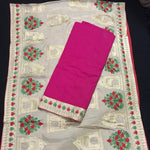 Cotton Suit with Aari work dupatta - Unstitched Fabric - Pink and White