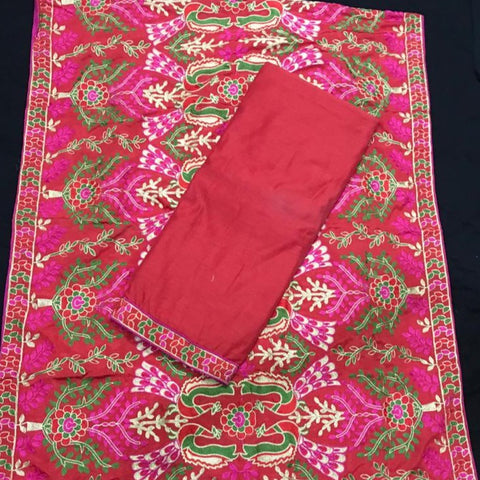 Cotton Suit with Aari work dupatta - Unstitched Fabric - Pinkish Red