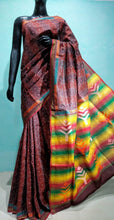 Load image into Gallery viewer, Jamdani Silk Kantha embroidery Saree- Brownish Red