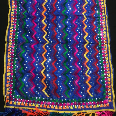 Chanderi Hand Embroidered Dupatta - Zig Zag Jhallar - Royal Blue