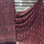 Cotton Ajrakh Saree - Brick red - 01