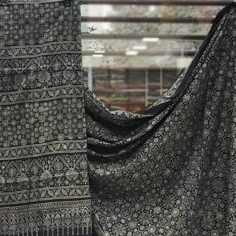 Cotton Ajrakh Saree - Black 03