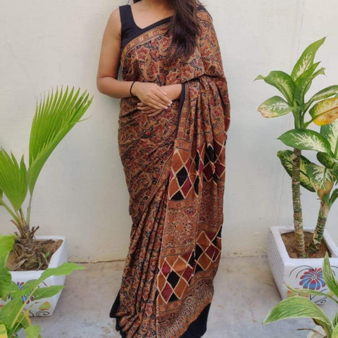 Modal Silk Ajrakh Saree - Brown 02