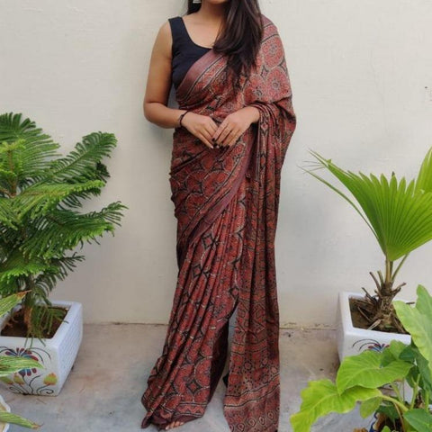 Modal Silk Ajrakh Saree - Brown 01