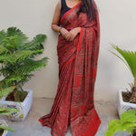 Modal Silk Ajrakh Saree - Brick Red