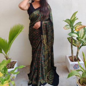 Modal Silk Ajrakh Saree - Dark Green