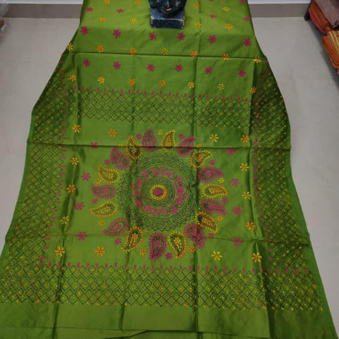 Assam Silk (cotton silk) Kantha Work Saree - Mehendi Green