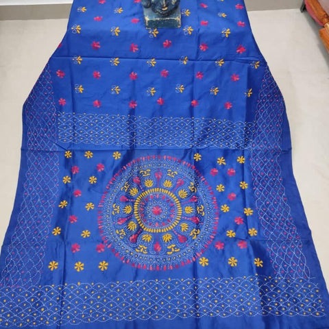 Assam Silk (cotton silk) Kantha Work Saree - Blue - KK012