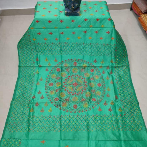 Assam Silk ((cotton silk) Kantha Work Saree - Teal Green