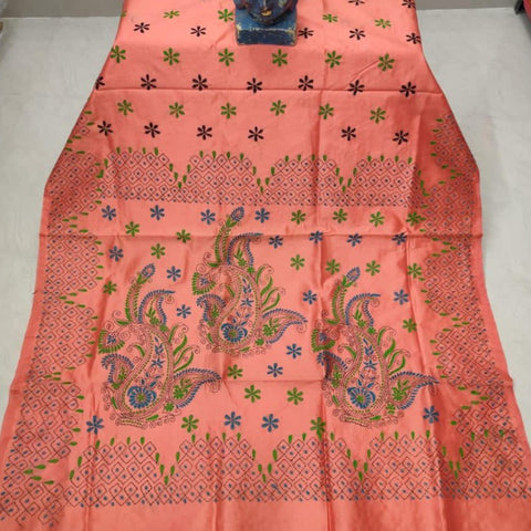 Assam Silk (cotton silk) Kantha Work Saree - Orangish Peach  - KK012