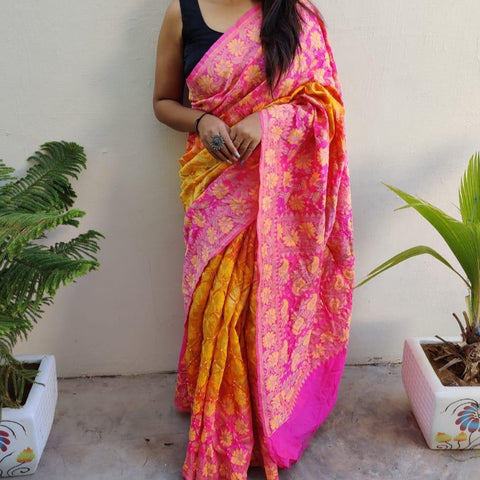 Dupion Silk Banarasi Weave with Bandhani Saree - Pink and Yellow