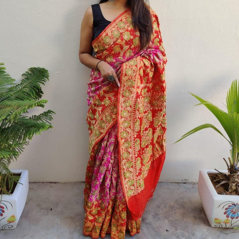 Banarasi-Bandhani saree red and purple
