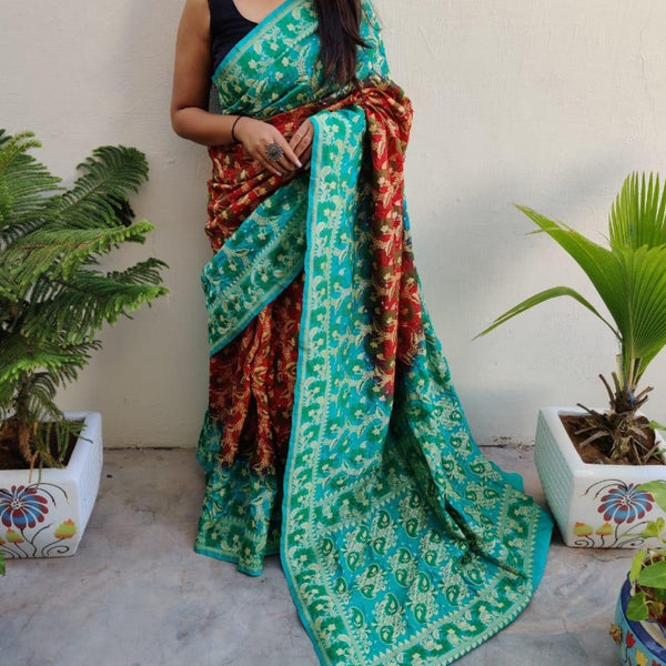 Banarasi-Bandhani saree sea blue and red