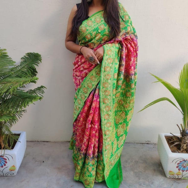 Banarasi-Bandhani saree green and pink