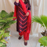 Kutchi work Salwar suit fabric - Red Navy