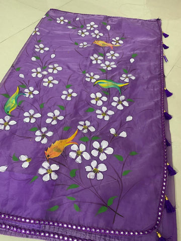 Organza Hand Painted Saree with Flowers - Purple