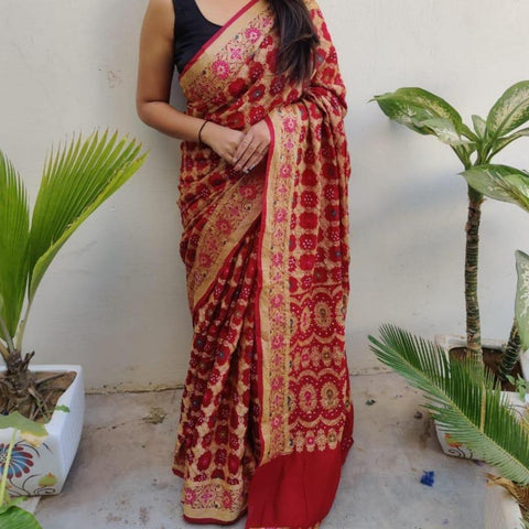 Banarasi-Bandhani saree dark red