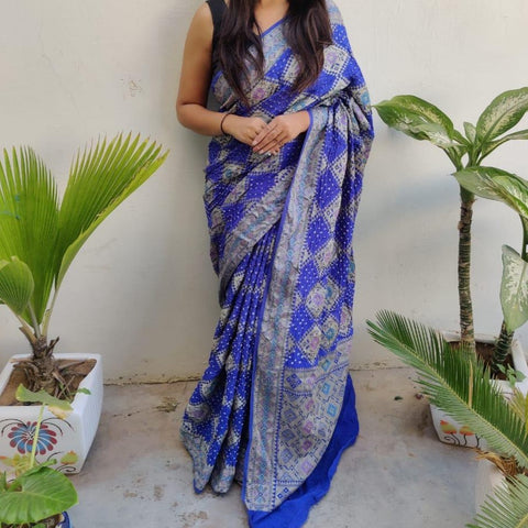 Banarasi-Bandhani saree royal blue