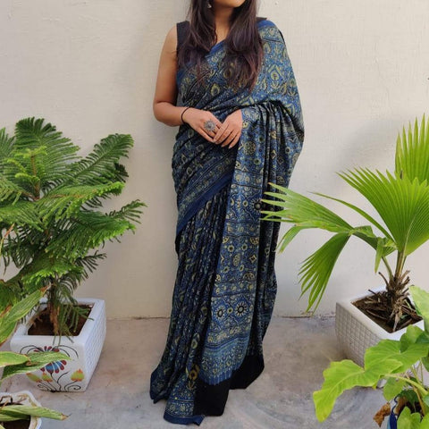 Cotton Ajrakh Saree - Blue
