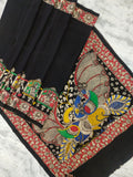Pen Kalamkari Hand drawn and painted Chennur (Chenoori) Silk Saree- Black