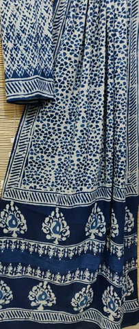 Mul cotton handblock  indigo saree